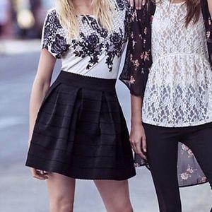 Express   Black Bandage Pleated Skater Skirt